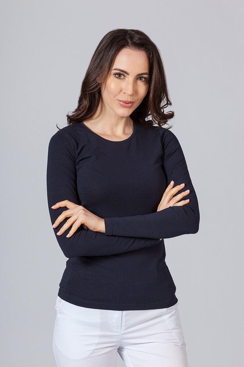 Dámské tričko s dlouhým rukávem námořnická modř
