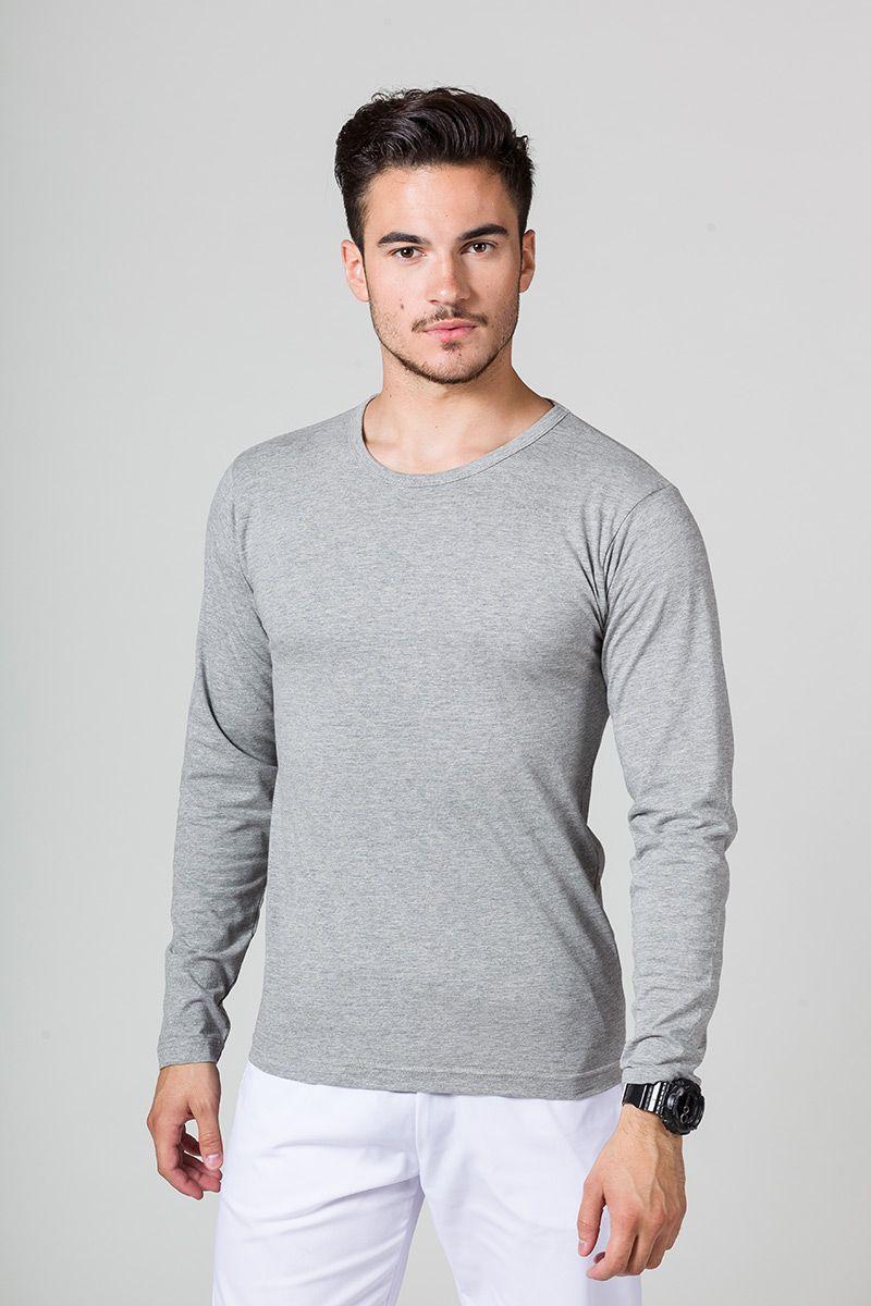 Pánské tričko s dlouhým rukávem tmavě šedý melír