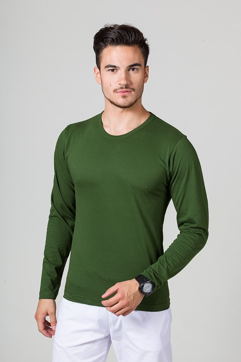 Pánské tričko s dlouhým rukávem tmavě zelená