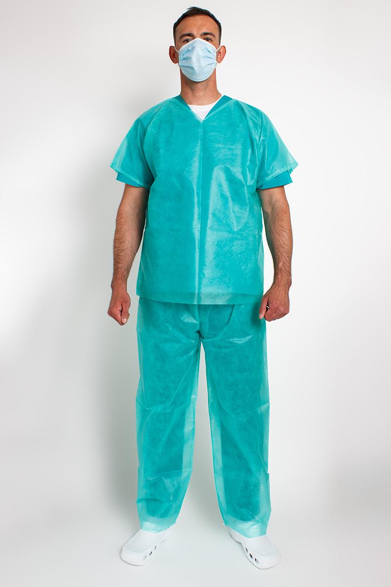 Jednorázová lékařská souprava, ochranná, zelená, univerzální velikost